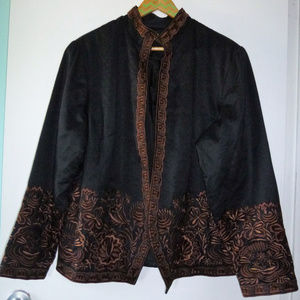 Beautiful black/brown embroidered jacket size 18W
